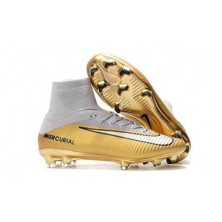 Nuevo Botas de fútbol Nike Mercurial Superfly 5 FG CR7 Quinto Triunfo Oro Blanco