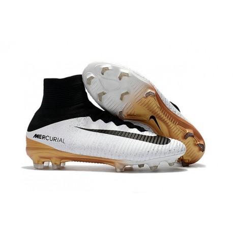 reputable site 3d15f 6772b Nuevo Botas de fútbol Nike Mercurial Superfly 5 FG Blanco Oro Negro