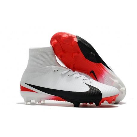 Baratas Botas de fútbol Nike Mercurial Superfly V FG Blanco Rojo Negro
