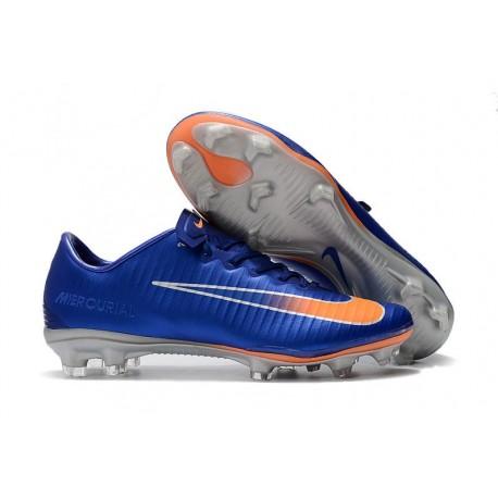 Botas de fútbol Nike Mercurial Vapor 11 FG para Hombre Azul Naranja Plateado