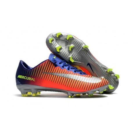 Botas de fútbol Nike Mercurial Vapor 11 FG para Hombre Azul Plateado Naranja