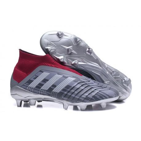 Nuevo Zapatillas de fútbol Adidas Predator 18+ FG Pogba Gris Rojo