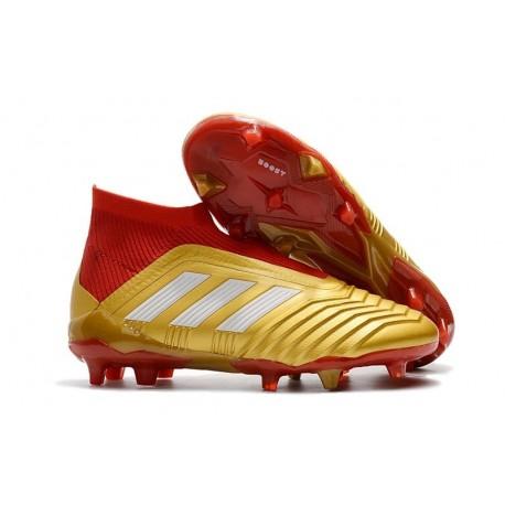 Baratas Botas de fútbol Adidas Predator 18+ FG Oro Rojo Blanco