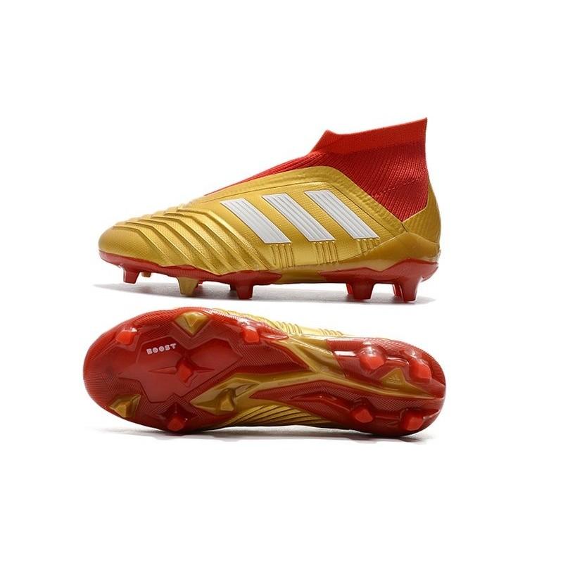new product ecf95 e9d11 Baratas Botas de fútbol Adidas Predator 18+ FG Oro Rojo Blanco Ampliar.  Anterior. Siguiente