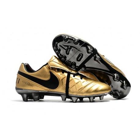 Botas Baratas Nike Tiempo Legend VII FG Nike Tiempo Totti X Roma Oro Negro