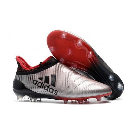 Botas de fútbol Adidas X 17+ Purespeed FG Hombre Plateado Rojo Negro