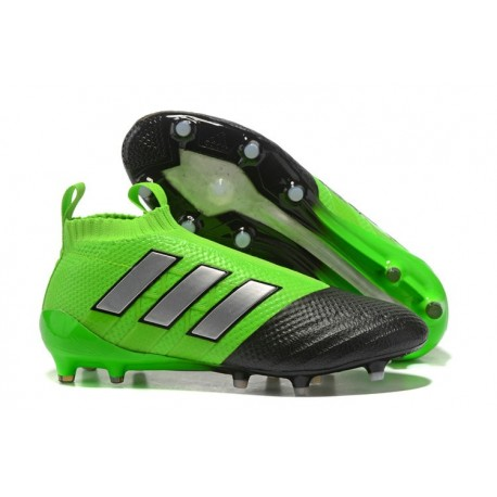 Zapatos de fútbol adidas Ace 17+ Purecontrol FG Verde Negro Plata