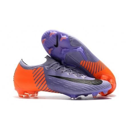 Nuevas Zapatillas de fútbol Nike Mercurial Vapor XII Elite FG Púrpura Naranja Negro