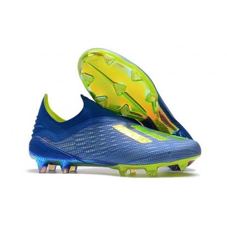 Zapatillas de fútbol Baratas Adidas X 18+ FG Fútbol Azul Solar Amarillo Núcleo Negro
