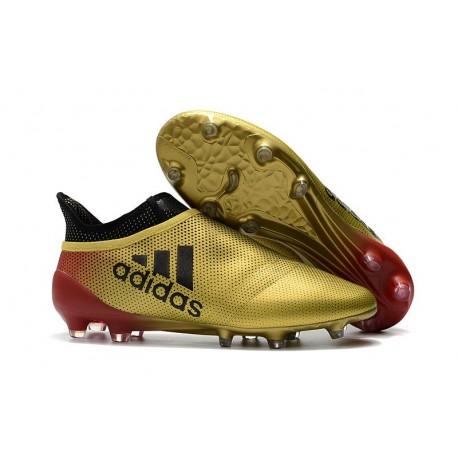 Baratas Botas de fútbol Adidas X 17+ Purespeed FG Táctil Oro Metálico Núcleo Negro Solar Rojo