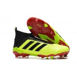 Zapatillas de fútbol Adidas Predator 18+ FG Para Hombre Volt Negro Rojo
