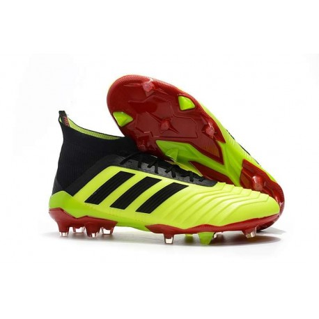 Botas de fútbol Adidas Predator 18.1 FG Para Hombre Volt Negro Rojo