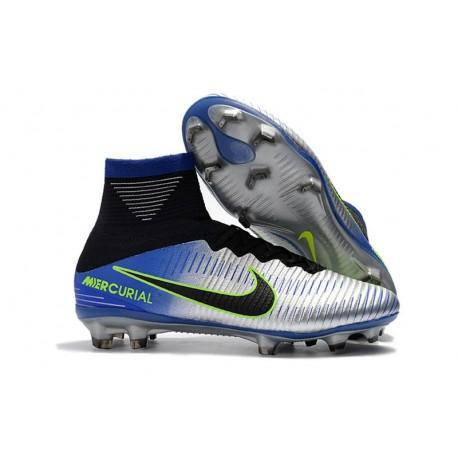 Botas de fútbol Nike Mercurial Superfly V FG Azul Negro Cromado Amarillo Volt