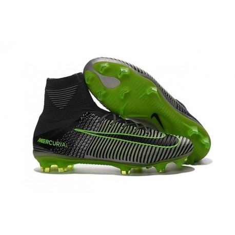 Zapatillas de fútbol Nike Mercurial Superfly V FG Para Hombre Gris Negro Verde