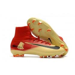 Zapatillas de fútbol Nike Mercurial Superfly V FG Para Hombre Rojo Amarillo Negro