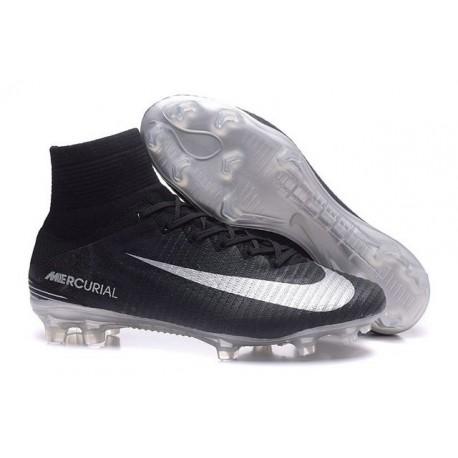 Zapatillas de fútbol Nike Mercurial Superfly V FG Para Hombre Negro Plateado