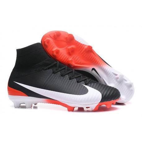 Zapatillas de fútbol Nike Mercurial Superfly V FG Para Hombre Negro Blanco Rojo
