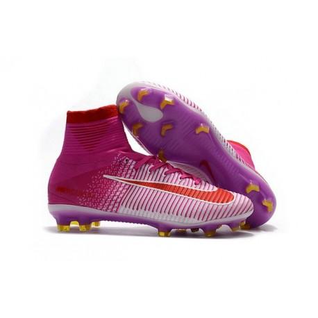 Botas de fútbol Nike Mercurial Superfly V FG Rosa Blanco Rojo