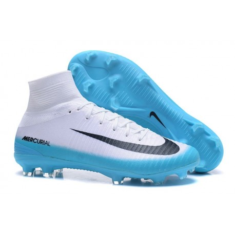 Baratas Botas de fútbol Nike Mercurial Superfly V FG Blanco Azul Negro