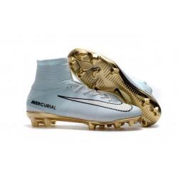 Botas de fútbol Nike Mercurial Superfly V FG CR7 Blanco Oro Negro