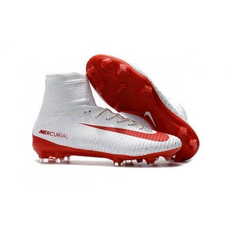 Zapatillas de fútbol Nike Mercurial Superfly 5 FG Blanco Rojo