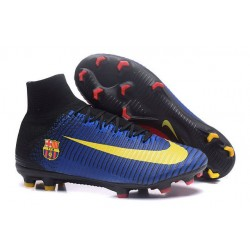 Zapatillas de fútbol Nike Mercurial Superfly V FG Para Hombre Barcelona FC Azul Rojo Amarillo Negro