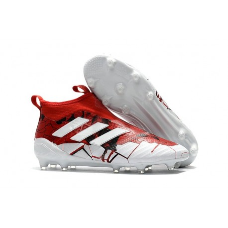 Tacos de futbol adidas Ace 17+ Purecontrol FG Rojo Blanco Negro