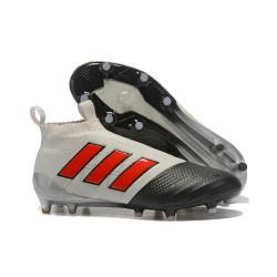 Baratas Botas de fútbol adidas Ace 17+ Purecontrol FG Gris Rojo Negro