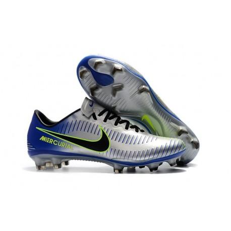 Baratas Botas de fútbol Nike Mercurial Vapor XI FG Plateado Azul
