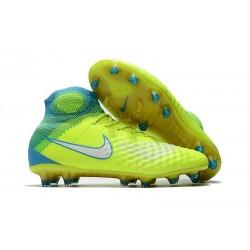 Zapatillas de fútbol Nike Magista Obra II FG Volt Blanco Azul cloro