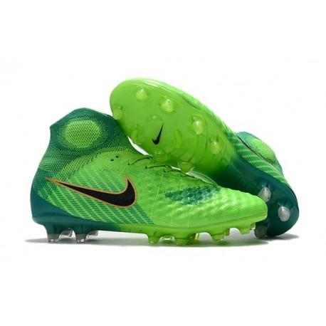Nuevo Baratas Botas de fútbol Nike Magista Obra 2 FG Verde Negro