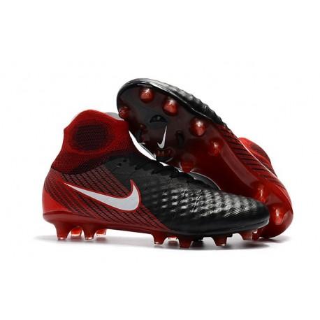 Zapatillas de fútbol Nike Magista Obra II FG Negro Blanco Hyper Rojo