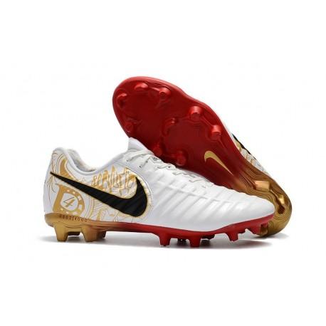 a4dc80f17f Botas de fútbol Nike Tiempo Legend VII Botas de Tacos Blanco Dorado