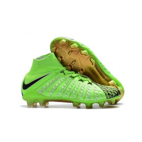 Zapatos de fútbol Nike Hypervenom Phantom III DF FG para Hombre EA Verde Negro Oro