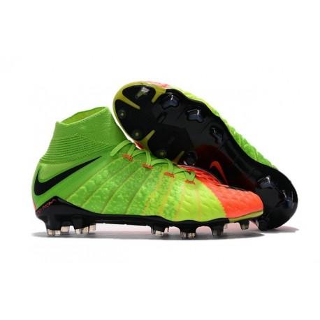 Nuevo Botas de fútbol Nike Hypervenom Phantom III DF FG Verde Negro