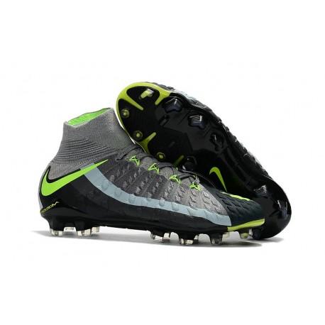 Nuevo Botas de fútbol Nike Hypervenom Phantom III DF FG Gris Negro Verde