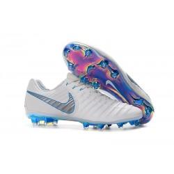 Botas de fútbol Nike Tiempo Legend VII Elite FG Para Hombre Blanco Gris Azul