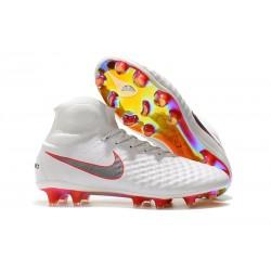 Nuevo Baratas Botas de fútbol Nike Magista Obra 2 FG Blanco Gris Crimson