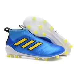 Zapatos de fútbol adidas Ace 17+ Purecontrol FG Azul Amarillo Blanco