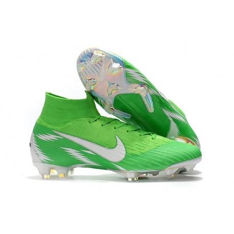Zapatillas de fútbol Nike Mercurial Superfly VI 360 Elite FG Para Hombre Plata Verde