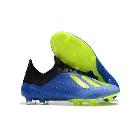 Botas Baratas - Zapatillas de fútbol Adidas X 18.1 FG Azul Amarillo Negro