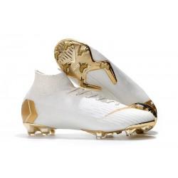 Botas de Futbol Baratas Nike Mercurial Superfly VI 360 Elite FG Oro Blanco