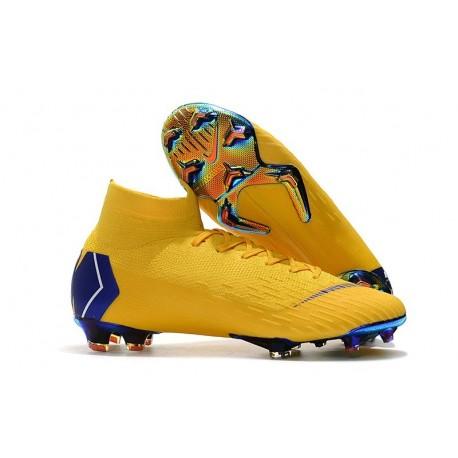 Zapatos Futbol Nike Mercurial Superfly VI 360 Elite FG Amarillo Azul