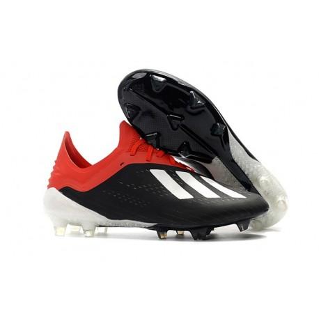 Botas Baratas - Zapatillas de fútbol Adidas X 18.1 FG Blanco Negro Rojo