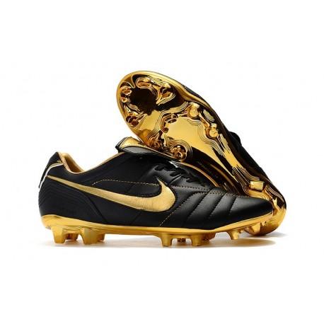 Zapatillas de fútbol Nike Tiempo Legend VII R10 Elite FG Negro Oro Metalizado