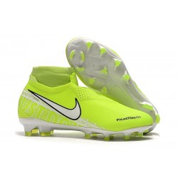 Nike Phantom Vision Elite DF FG Zapatos de Fútbol Amarillo Fluorescente Blanco