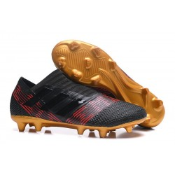Zapatos de fútbol Adidas Nemeziz 17+ 360 Agility FG Negro Oro Rojo