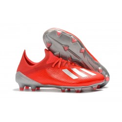 Zapatillas de Fútbol adidas X 19.1 FG Rojo Plata