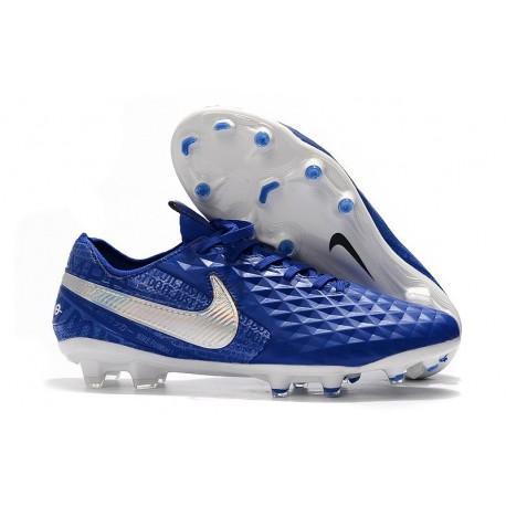 Zapatos de Fútbol Nike Tiempo Legend 8 Elite FG Azul Blanco
