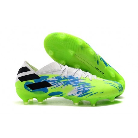 Bota Nuevo adidas Nemeziz 19.1 FG Blanco Verde Azul